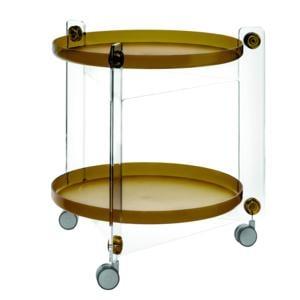 Carrello Portavivande Massoni diametro 66xh63.5 cm Con Ruote Guzzini Moka Trasparente