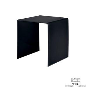 Tavolino medio 45x40xh45 cm Casa Guzzini in metacrilato bicolore alto spessore Design:Carlo Colombo Nero