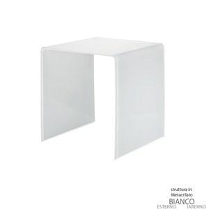 Tavolino medio 45x40xh45 cm Casa Guzzini in metacrilato bicolore alto spessore Design:Carlo Colombo Bianco