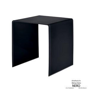 Tavolino grande 50x40xh50 cm Casa Guzzini in metacrilato bicolore alto spessore Design:Carlo Colombo Nero