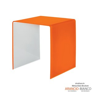 Tavolino grande 50x40xh50 cm Casa Guzzini in metacrilato bicolore alto spessore Design:Carlo Colombo Arancio Trasparente