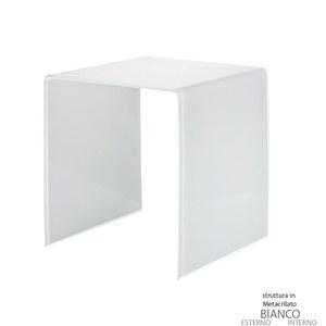 Tavolino grande 50x40xh50 cm Casa Guzzini in metacrilato bicolore alto spessore Design:Carlo Colombo Bianco