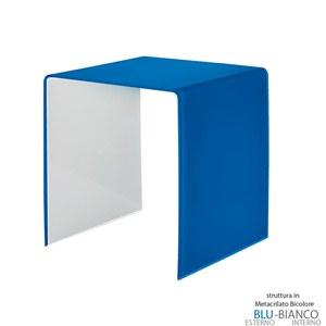 Tavolino grande 50x40xh50 cm Casa Guzzini in metacrilato bicolore alto spessore Design:Carlo Colombo Blu Cobalto Trasparente