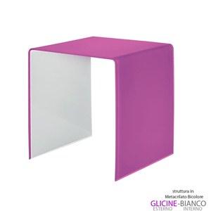 Tavolino grande 50x40xh50 cm Casa Guzzini in metacrilato bicolore alto spessore Design:Carlo Colombo Glicine