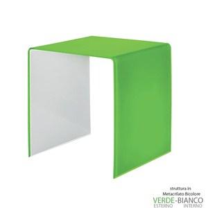 Tavolino grande 50x40xh50 cm Casa Guzzini in metacrilato bicolore alto spessore Design:Carlo Colombo Verde Acido Opaco