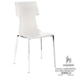 Sedia 53.5x41xh89.5 cm Guzzini My Chair struttura in acciaio lucido Seduta colore Bianco