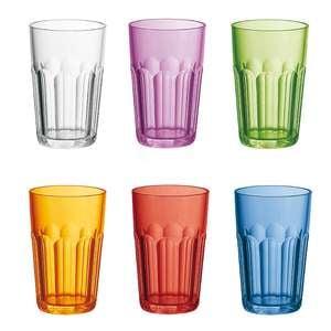 Bicchieri Tall Tumber multicolor diametro 8xh40 cm - 420 cc Happy Hour confezione 6 pezzi in policarbonato
