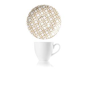 Tazzine da Caffè set da 6 pezzi con Piattino Ø11,7xh7 cm -50 cc Le maioliche realizzate in porcellana con decoro sotto smalto sabbia