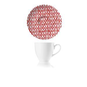 Tazzine da Caffè set da 6 pezzi con Piattino Ø11,7xh7 cm -50 cc Le maioliche realizzate in porcellana con decoro sotto smalto rosso