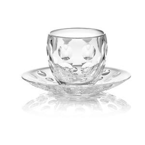 Tazzine da caffè con piattino 12xh6,3 cm cm - 110 cc tazzina in vetro piattino in plastica Venice Guzzini