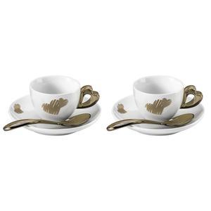 Tazzine caffè con piatto love Ø12xh6 cm - 50 cc set 2 tazzine con piattini e cucchiaini sabbia