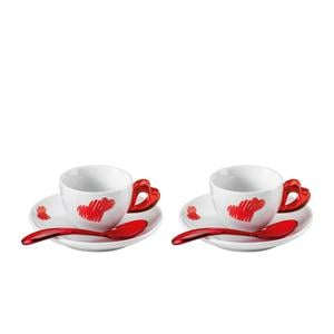 Tazzine caffè con piatto love Ø12xh6 cm - 50 cc set 2 tazzine con piattini e cucchiaini rosso