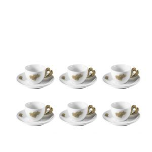Tazzine caffè con piatto love Ø12xh6 cm - 50 cc set 6 tazzine con piattini colore sabbia