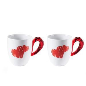 Mug Love con decoro cuori Ø9x12,5xh10 cm - 250 cc confezione 2 Pezzi colore rosso