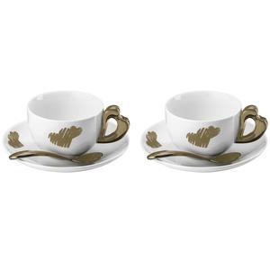 Tazze Cappuccino Love set 2 tazze con piattini e cucchiaini Ø16xh7,5 cm - 200 cc colore sabbia