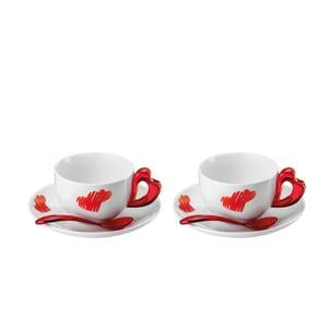 Tazze Cappuccino Love set 2 tazze con piattini e cucchiaini Ø16xh7,5 cm - 200 cc colore rosso
