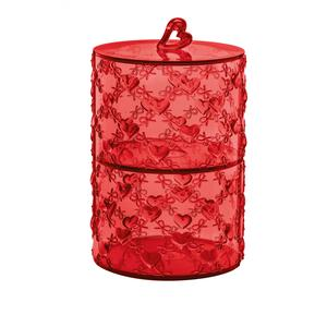 Set due Contenitori impilabili portaoggetti con coperchio Ø11xh18,3 cm colore rosso