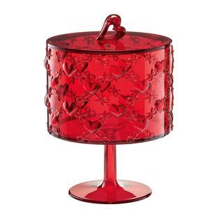 Contenitore con alzata portaoggetti grande con coperchio Ø15,7xh22 cm Love Guzzini colore rosso