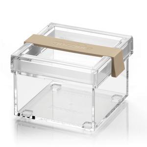 Barattolo in acrilico trasparente S 10x11xh8 cm - 350cc My Kitchen impilabile con tappo salvafreschezza Argilla chiaro