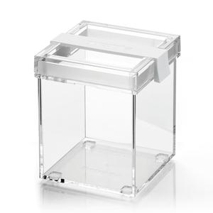 Barattolo in acrilico trasparente M 10x11xh13 cm - 770cc My Kitchen impilabile con tappo salvafreschezza Bianco