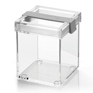 Barattolo in acrilico trasparente M 10x11xh13 cm - 770cc My Kitchen impilabile con tappo salvafreschezza Grigio opaco