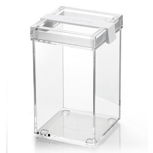 Barattolo in acrilico trasparente L 10x11xh17,5 cm - 1150cc My Kitchen impilabile con tappo salvafreschezza Bianco