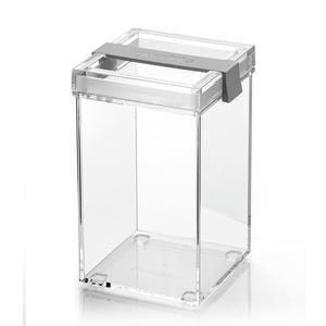 Barattolo in acrilico trasparente L 10x11xh17,5 cm - 1150cc My Kitchen impilabile con tappo salvafreschezza Grigio opaco