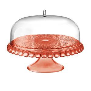 Alzata, Tortiera con campana diametro Ø 36xh28cm Tiffany Corallo