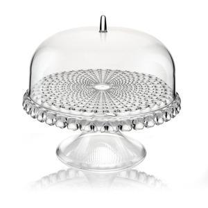 Alzata, Tortiera con campana Piccola diametro Ø 30xh27cm Tiffany Trasparente