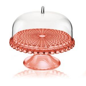 Alzata, Tortiera con campana Piaccola diametro Ø 30xh27cm Tiffany Corallo