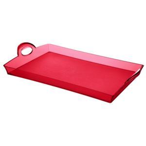 Vassoio rettangolare Con Manici 33.5x54xh8.7 cm in SAN Impilabile Rosso Trasparente