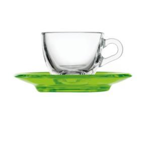Tazzina da caffé 12xh6,3 cm - 90 cc con piattino in san verde Acido