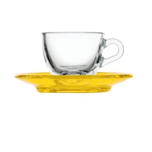 Tazzina da caffé 12xh6,3 cm - 90 cc con piattino in san Giallo