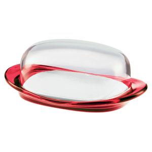 Burriera con vassoietto e coperchio 20x12.3xh7.5 cm feelig Rosso Trasparente
