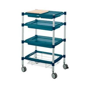 Carrello 4 piani Creatù con 4 ripiani e tagliere in legno 46x56xh92,5 cm colore Blu