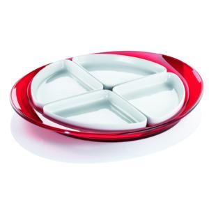 Antipastiera Ovale con 4 Ciotoline in porcellana 39,3x33xh3,8 cm Colore Rosso trasparente