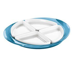 Antipastiera Ovale con 4 Ciotoline in porcellana 39,3x33xh3,8 cm Colore Azzurro Mare