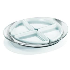 Antipastiera Ovale con 4 Ciotoline in porcellana 39,3x33xh3,8 cm Colore Trasparente
