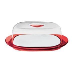 Guzzini Feeling 229300 Set copriformaggio :Vassoio.tagliere. campana Rosso Trasparente
