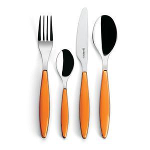 Posate Feeling 24 pezzi Colore Arancio in acciaio inox di Altissima qualita lavabili in lavastoviglie