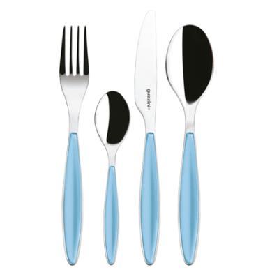 Posate Feeling 24 pezzi Colore Azzurro Mare in acciaio inox di Altissima qualita lavabili in lavastoviglie
