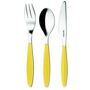 Set posatine 3 pezzi in acciaio 18/10 AISI 304 linea feeling colore giallo