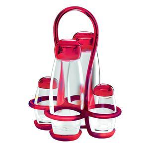 Menage colorato 17x15xxh22.5 - 180 cc - 52 cc Gocce contenitori in vetro cristallino Rosso