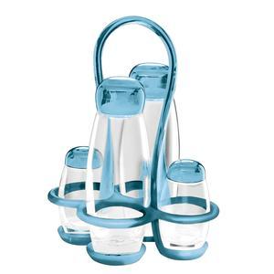 Menage colorato 17x15xxh22.5 - 180 cc - 52 cc Gocce contenitori in vetro cristallino Azzurro mare
