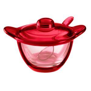 Formaggera zuccheriera marmellatiera 16.5x12x5xh10 cm - 200 cc con cucchiaino Gocce Rosso Trasparente
