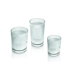 Set 6 bicchieri righe alti Ø8 x h12,5 cm - 400 cc Trasparente