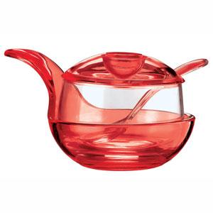 Formaggera zuccheriera marmellatiera con cucchiaino 15x11xh9 cm 210cc Happy Hour Rosso Trasparente