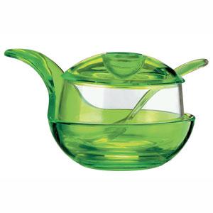 Formaggera zuccheriera marmellatiera con cucchiaino 15x11xh9 cm 210cc Happy Hour Verde Acido Opaco