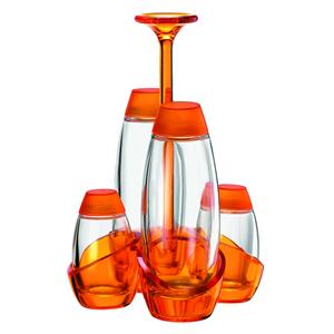 Menage Olio Aceto sale pepe 13x13xh22 cm 180cc 52cc Happy Hour contenitori in vetro Arancio Trasparente