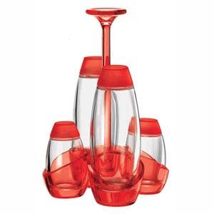 Menage Olio Aceto sale pepe 13x13xh22 cm 180cc 52cc Happy Hour contenitori in vetro Rosso Trasparente